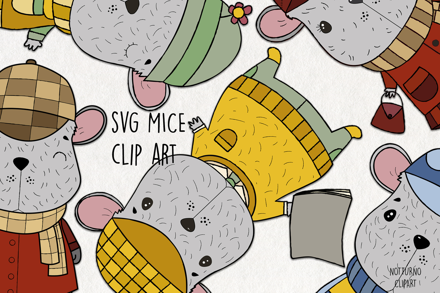 Download Free Mouse Clipart Graphic By Notturnoclipart Creative Fabrica for Cricut Explore, Silhouette and other cutting machines.