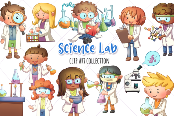 Print on Demand: Science Lab Clip Art Collection Grafik Illustrationen von Keepinitkawaiidesign