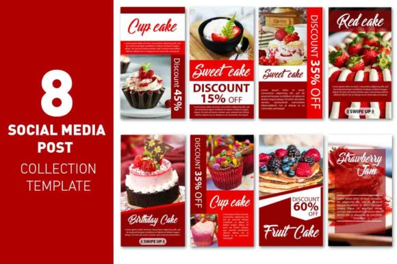 Social Media Story Red Cake Template Graphic Web Elements By rizsl.grandokz