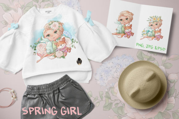 Print on Demand: Spring Girl Graphic Illustrations By nicjulia - Image 1