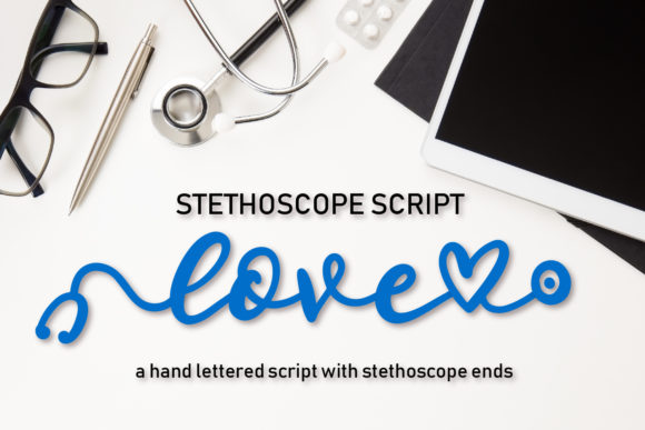 Print on Demand: Stethoscope Display Font By Justina Tracy - Image 1
