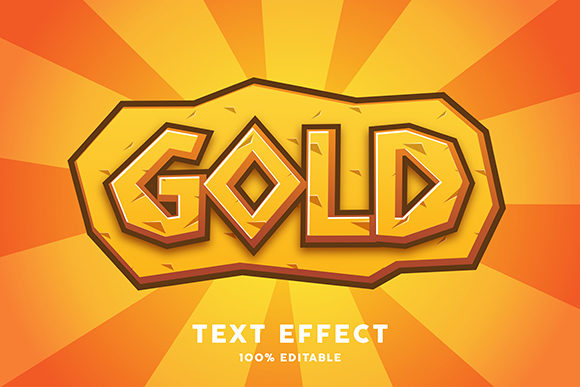 Download Free Text Effect Gold Cartoon Style Graphic By Amrikhsn Creative for Cricut Explore, Silhouette and other cutting machines.