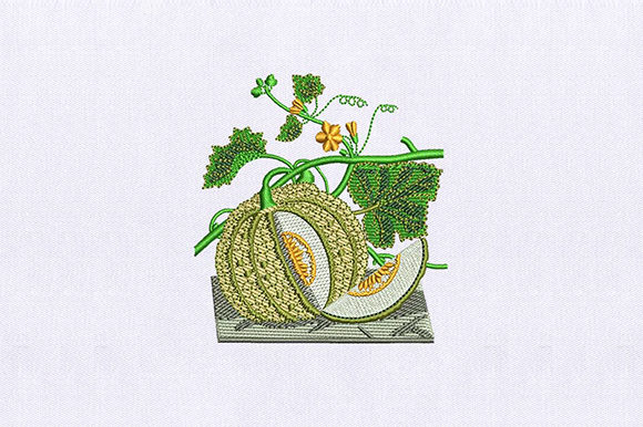 Vines Muskmelon Food & Dining Embroidery Design By DigitEMB