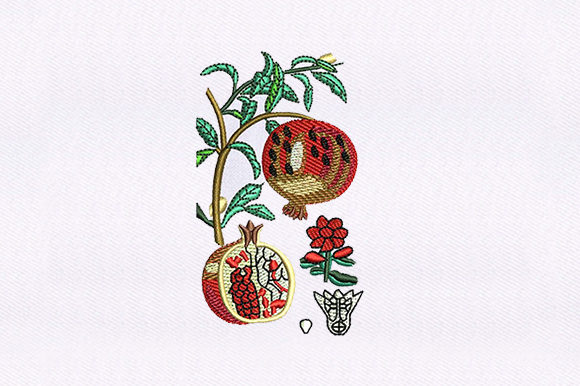 Vines Pomegranate Food & Dining Embroidery Design By DigitEMB
