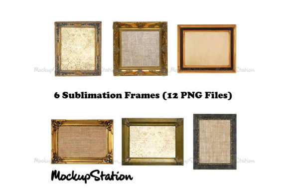 Print on Demand: Vintage Wood Frame Clip Art Bundle Graphic Objects By Mockup Station