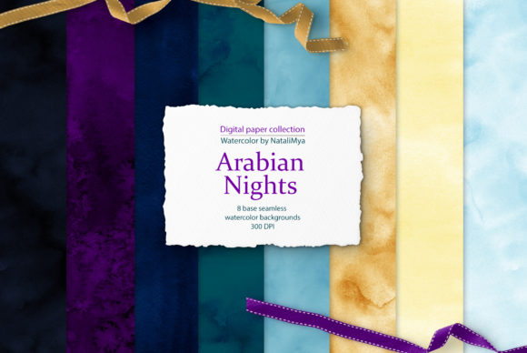 Download Free Watercolor Arabian Night Backgrounds Graphic By Natalimyastore Creative Fabrica for Cricut Explore, Silhouette and other cutting machines.