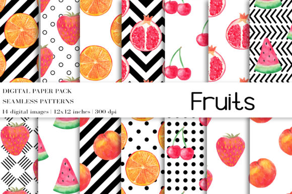 Watercolor Fruits Digital Papers Graphic Patterns By BonaDesigns