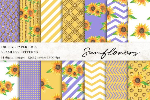 Watercolor Sunflowers Digital Papers Gráfico Moldes Por BonaDesigns