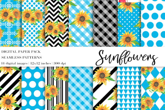 Watercolor Sunflowers Digital Papers Graphic Patterns By BonaDesigns