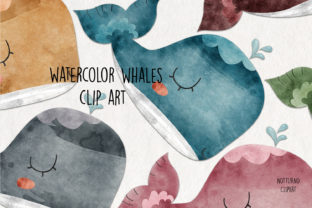 Print on Demand: Watercolor Whale Clip Art Graphic Crafts By NotturnoClipArt