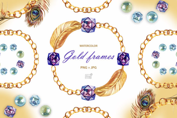 Watercolor Gold Chain Wreaths Graphic Illustrations By NataliMyaStore