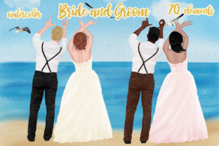 Print on Demand: Wedding Clipart Bride and Groom Graphic Illustrations By LeCoqDesign