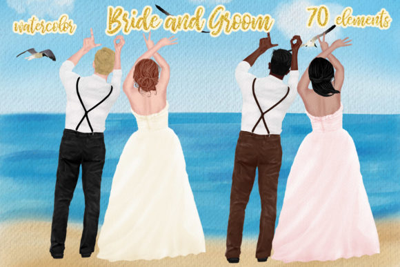 Wedding Clipart Bride and Groom Graphic Illustrations By LeCoqDesign