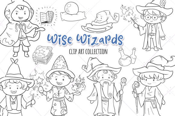 Print on Demand: Wise Wizards Fantasy Digital Stamps Graphic Illustrations By Keepinitkawaiidesign