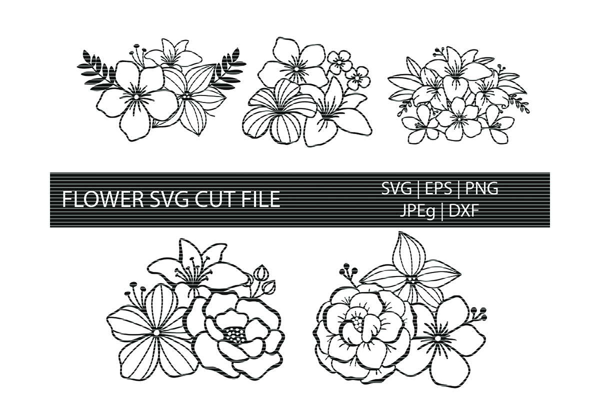 Download Free 05 Flowers Cut Files Graphic By Meshaarts Creative Fabrica for Cricut Explore, Silhouette and other cutting machines.