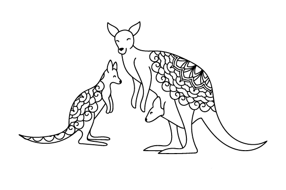 Mom And Baby Kangaroos Svg Cut File By Creative Fabrica