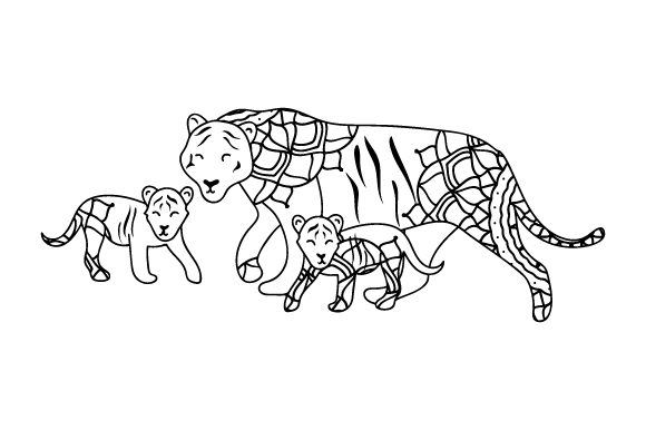Download Free Mom And Baby Tigers Svg Cut File By Creative Fabrica Crafts for Cricut Explore, Silhouette and other cutting machines.
