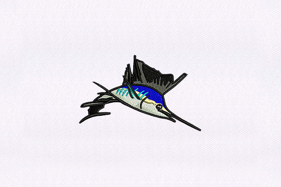 Blue Swordfish Fish & Shells Embroidery Design By DigitEMB