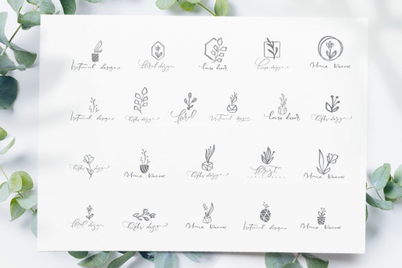 Download Free Botanical Floral Logos Graphic By Happy Letters Creative Fabrica for Cricut Explore, Silhouette and other cutting machines.