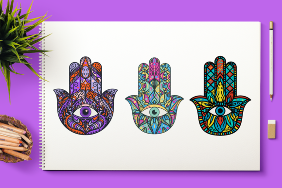 Print on Demand: Bright Hamsa Hands Cliparts Set Graphic Objects By barsrsind
