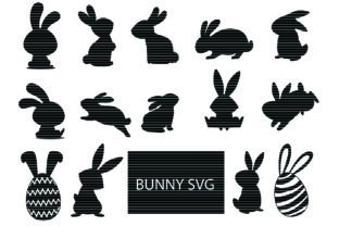Download Free Bunny Silhouette Clip Art Bundle Graphic By Meshaarts Creative for Cricut Explore, Silhouette and other cutting machines.