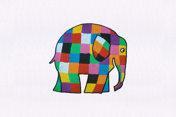 Checkered Elephant Babies & Kids Embroidery Design By DigitEMB