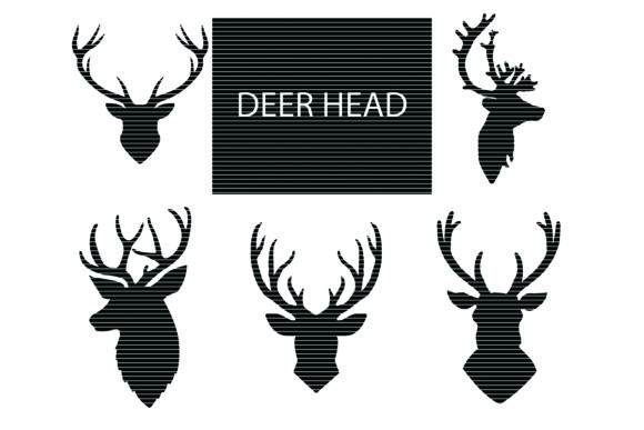 Print on Demand: Deer Head Silhouette Clip Art Graphic Crafts By MeshaArts