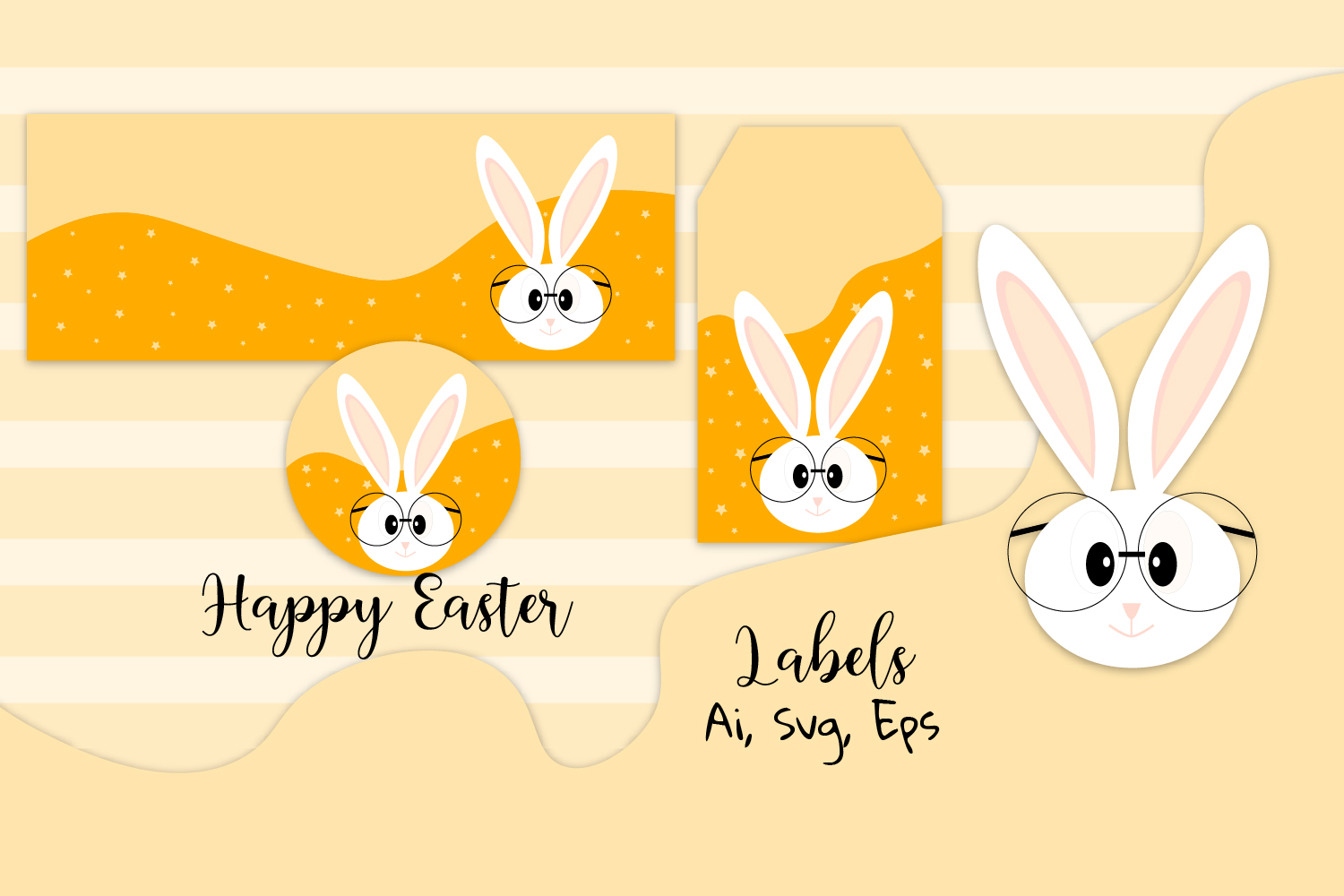 Download Free Editable Easter Labels Easter Bunny Graphic By Igraphic Studio for Cricut Explore, Silhouette and other cutting machines.