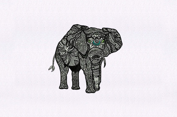 Elephant Zentangle Embroidery Design By DigitEMB