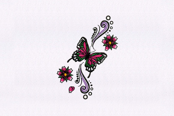 Floral Butterfly Bugs & Insects Embroidery Design By DigitEMB