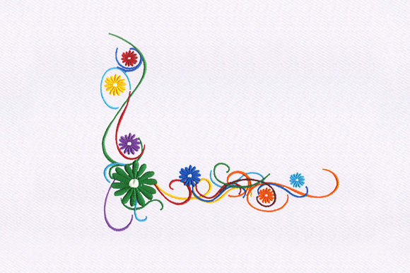 Floral Vines Single Flowers & Plants Embroidery Design By DigitEMB