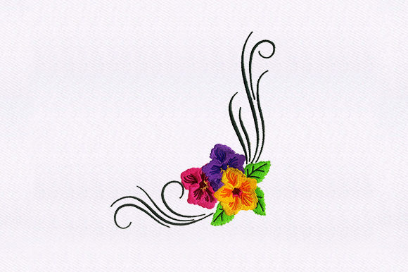 Flower Vines Single Flowers & Plants Embroidery Design By DigitEMB
