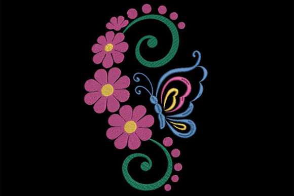 Flowers and Butterfly Bouquets & Bunches Embroidery Design By Embroidery Shelter