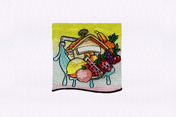Fruits House Food & Dining Embroidery Design By DigitEMB