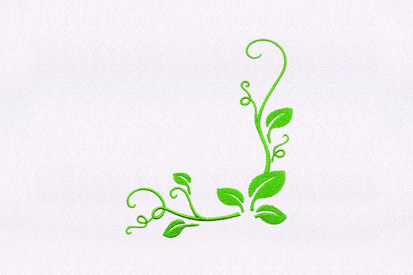 Green Leaf Vines  Single Flowers & Plants Embroidery Design By DigitEMB