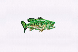 Largemouth Bass Fish & Shells Embroidery Design By DigitEMB