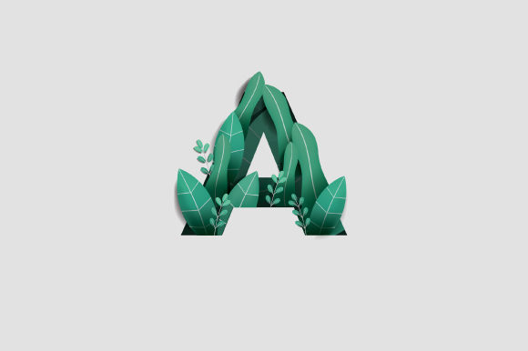 Letter a Leaf Graphic Illustrations By nrlmstf