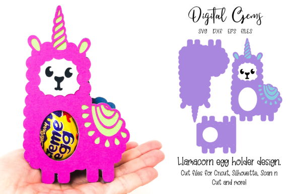 Download Free Llamacorn Egg Holder Design Graphic By Digital Gems Creative for Cricut Explore, Silhouette and other cutting machines.