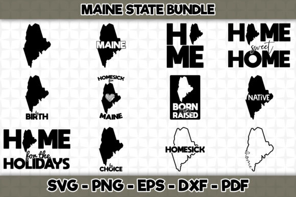 Download Free Maine State Bundle 12 Designs Graphic By Svgexpress Creative for Cricut Explore, Silhouette and other cutting machines.