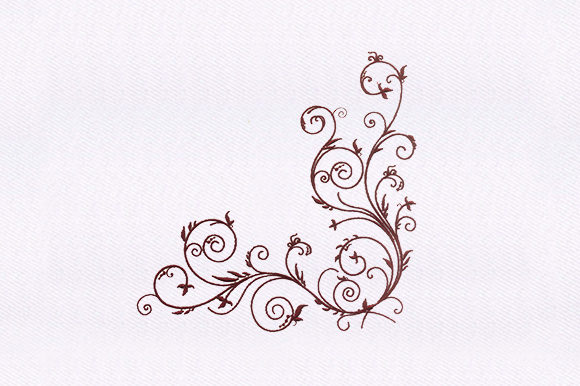 Maroon Stem Vines Single Flowers & Plants Embroidery Design By DigitEMB