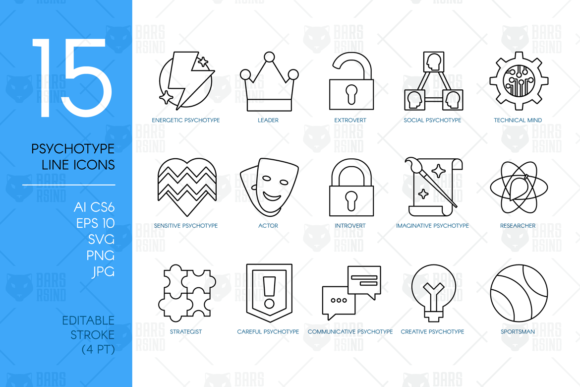 Print on Demand: Personality Psychotypes Line Icons Graphic Icons By barsrsind
