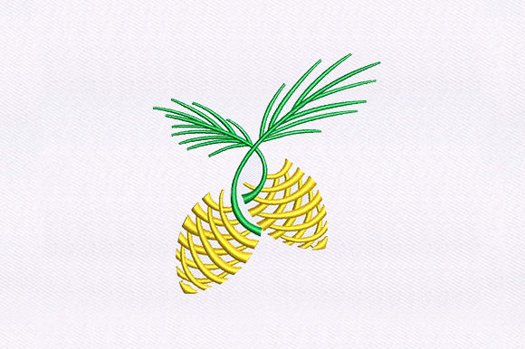 Pineapple Stem Border Food & Dining Embroidery Design By DigitEMB
