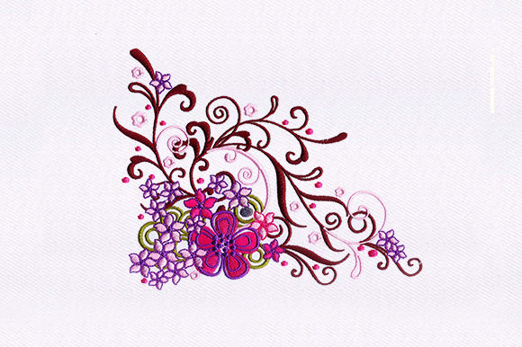 Pink Floral Vines Single Flowers & Plants Embroidery Design By DigitEMB
