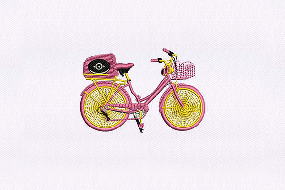 Pink Trunk Bicycle Sports Embroidery Design By DigitEMB