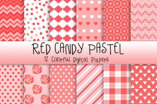 Print on Demand: Red Candy Pastel Background Graphic Backgrounds By PinkPearly