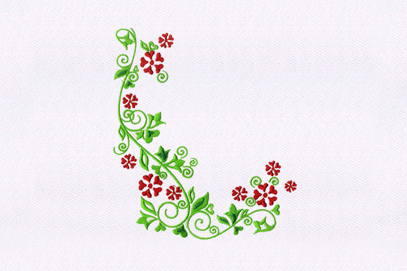 Red Flower Vines Single Flowers & Plants Embroidery Design By DigitEMB