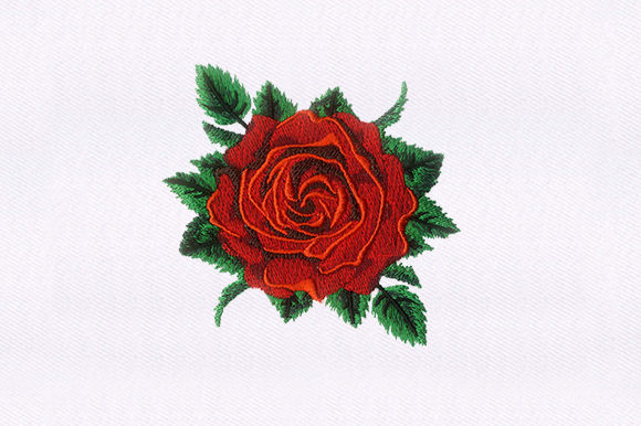 Red Rose Single Flowers & Plants Embroidery Design By DigitEMB