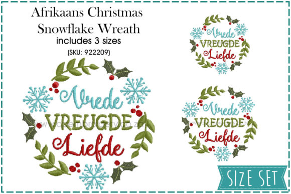 Vrede,Vreugde,Liefde Wreath Christmas Embroidery Design By CPEmbroidery Designs
