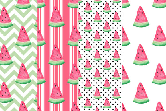 Watercolor Watermelon Digital Papers Graphic Patterns By BonaDesigns - Image 2