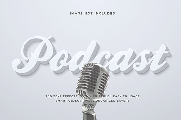 Download Free White Podcast 3d Text Effect Mockup Graphic By Syifa5610 for Cricut Explore, Silhouette and other cutting machines.